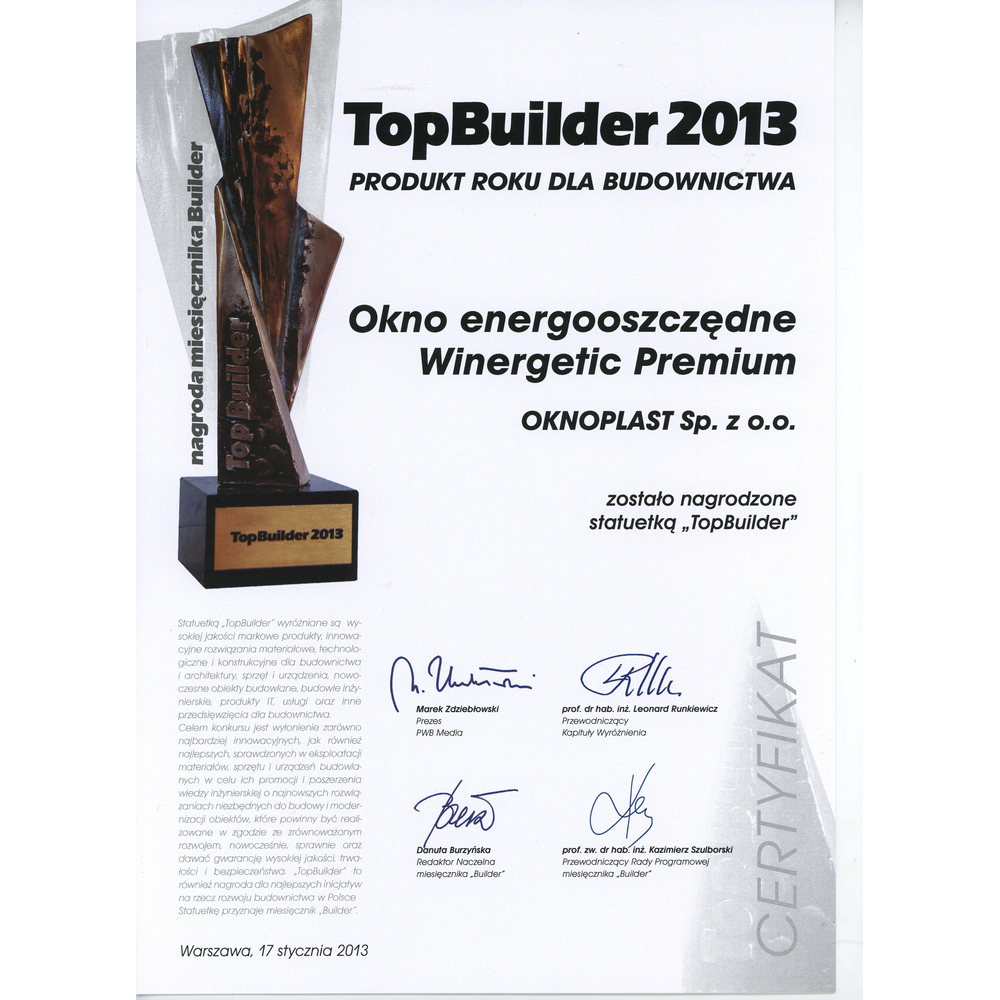 Top Builder 2013 dla okna Winergetic Premium